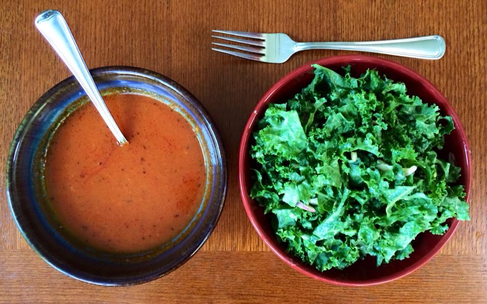 tom soup and salad