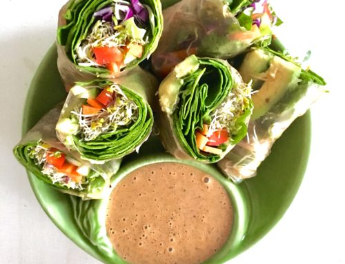 Veggie Spring Rolls with Almond Sauce